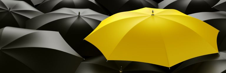 Yellow umbrella standing out amongst black